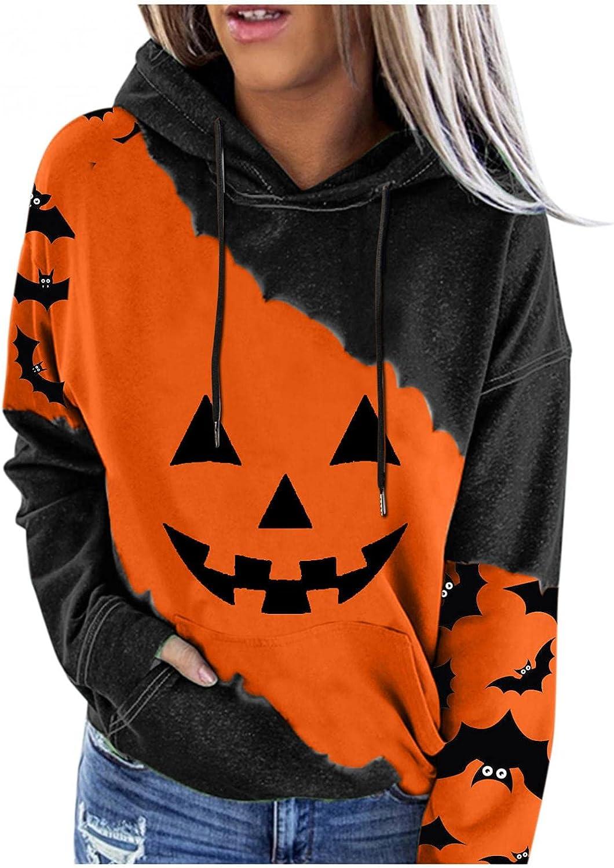Hallween Shirts for Women, Womens Hooded Sweatshirt Casual Long Sleeve Halloween Shirts with Pocket Pumpkin Smiley Fall Tops