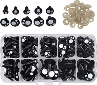 NATUCE 150 Pcs 8-16mm Yeux de Sécurité en Plastique, Noir Yeux de Poupée avec Rondelles avec Rondelles dans Boîte de Range...
