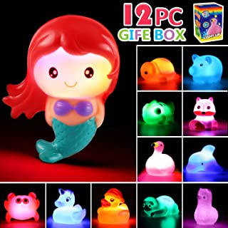 Bath Toy, 12 Pack Light up Animal with Gift Box, Floating Rubber Auto Flashing Color Tub Toys for Bathtub Bathroom Shower Game Swimming Pool Party, Water Toy for Infant Kid Toddler Child Boy Girl