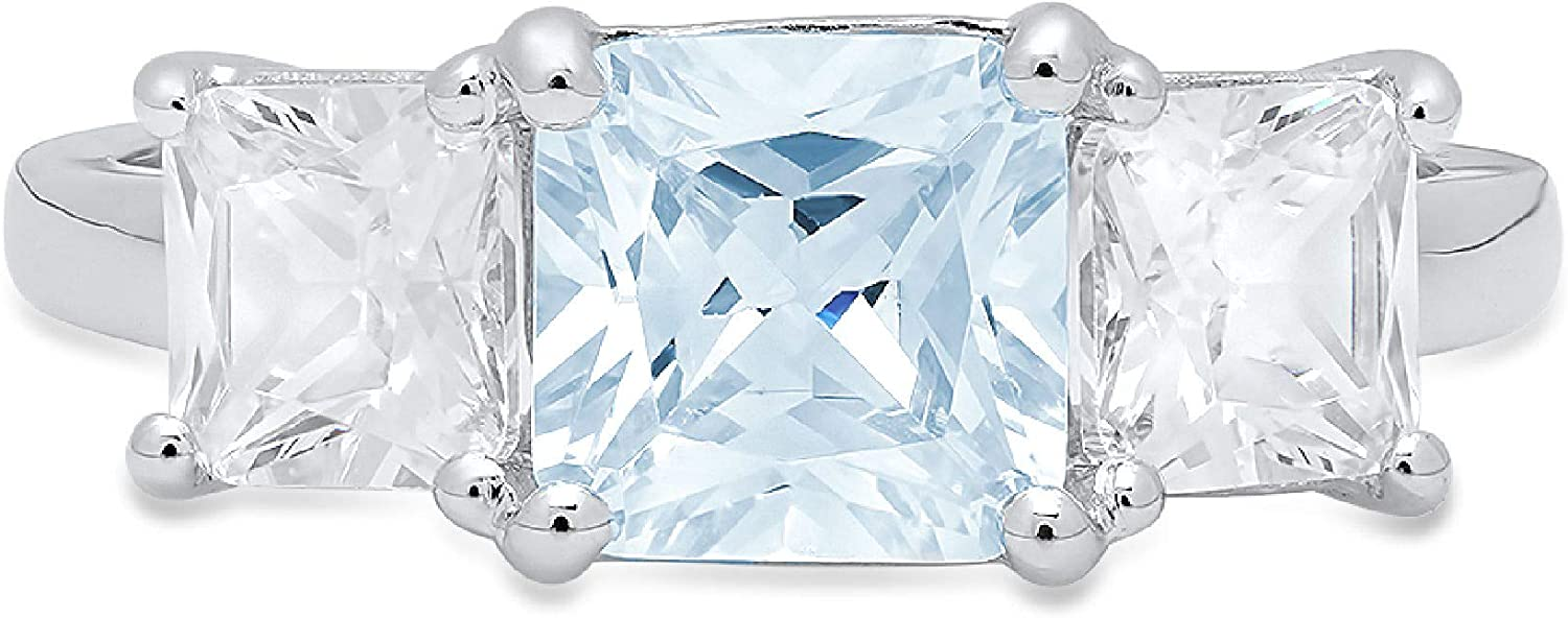 3.19ct Square Emerald Baguette cut 3 stone Solitaire Natural Swiss Blue Topaz Gemstone Ideal VVS1 Engagement Promise Statement Anniversary Bridal Wedding ring Solid 14k White Gold