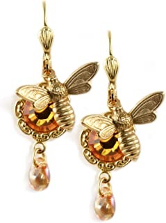 Clara Beau Topaz colored Swarovski Glass Crystal GoldTone Flower Bee Honey Drop Earrings EAM224G