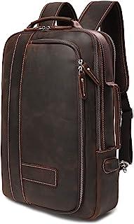 Lannsyne Men's Full Grain Leather Expandable 15.6 Laptop Backpack Tote Shoulder Travel Rucksack