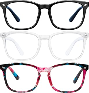 Blue-Light-Blocking-Glasses - 3 Pack Blue Light Glasses Computer Gaming Glasses & Fashion Lightweight Frame Non-Prescripti...