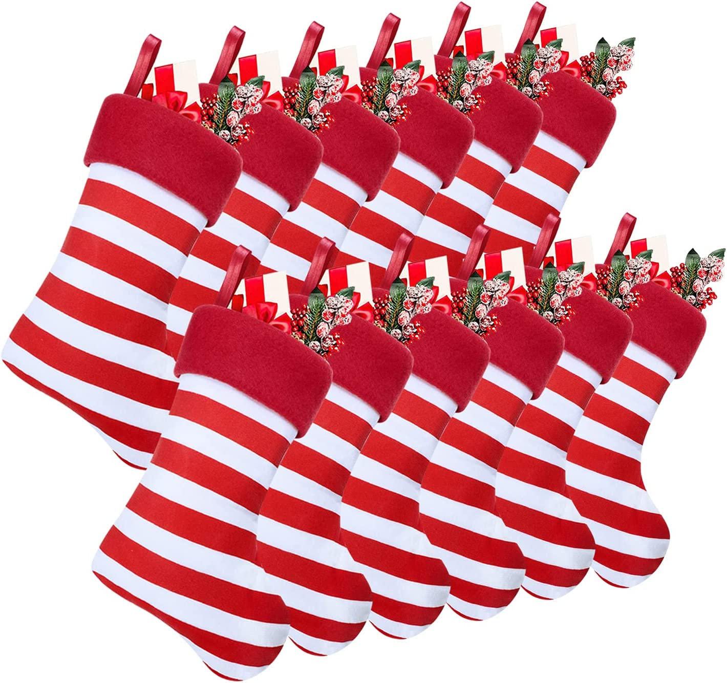 Max 66% OFF Ltcyev 12 Pack Christmas Stockings Mini Stripe Phoenix Mall Tre and White Red