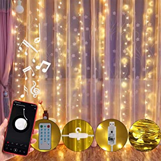 Anpro led Curtains Lights, USB Powered 310 LED Curtain Light with Voice Activated, Curtain String Lights for Christmas Party Wedding Decorations, Remote Including Sync-to-Music Setting
