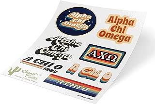 Alpha Chi Omega 70's Themed Sticker Sheet Decal Laptop Water Bottle Car (Full Sheet - 70's)
