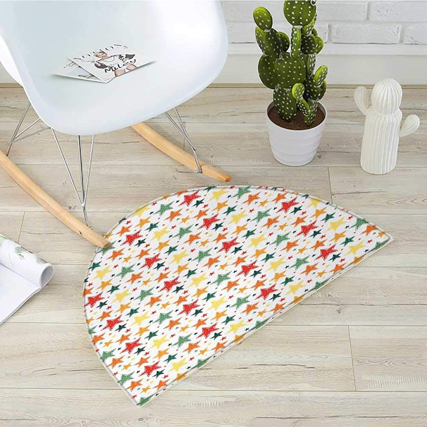 Star Semicircular CushionCheckered Grid Style Background with Hand Drawn colorful Five Pointed Star Doodles Entry Door Mat H 39.3  xD 59  Multicolor