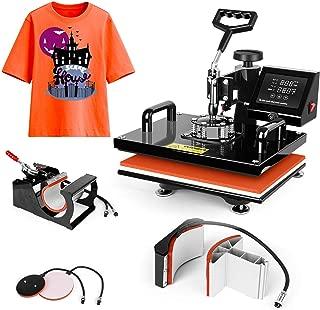 Heat Press Machine 15x12 inch - TUSY 5 in 1 Swing Away Digital Industrial Sublimation Printing Press Heat Transfer Machine for T-Shirt Hat Mug Plate