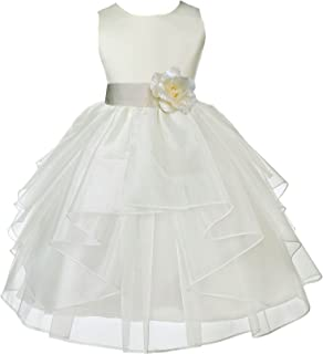 Ivory Satin Shimmering Organza Junior Flower Girl Dresses Tea Party 4613S