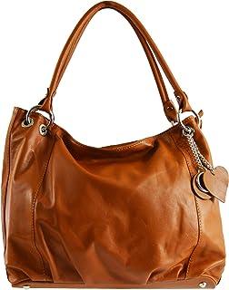Chicca Tutto Moda CTM Borsa elegante a sacca da donna in vera pelle morbida italiana made in Italy 35x29x15 Cm