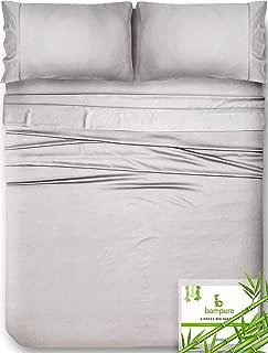 Bamboo Sheets Queen Bamboo Sheets - 100% Organic Bamboo Bed Sheets Queen Sheet Set Cooling Sheets Queen Size Sheets Deep Pocket Queen Sheets Queen Bed Sheets Queen Size Cool Sheets Light Gray Sheets
