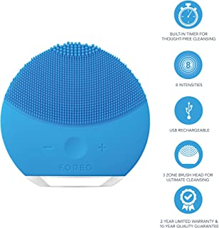 FOREO Luna Mini 2 Facial Cleansing Brush and Skin Care device made with Soft Silicone for Every Skin Type, Aquamarine, 204g