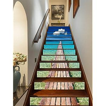 FLFK 3D Azul Oceano Madera Puente Muelle auto-adhesivos Pegatinas de Escalera pared pintura vinilo Escalera calcomanía Decoración 39.3 pulgadas x7.08 pulgadas X 13Piezas: Amazon.es: Bricolaje y herramientas