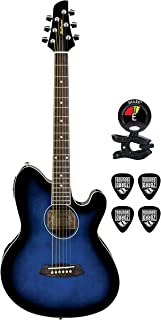 Ibanez TCY10ETBS Talman 6 String Acoustic Electric Guitar Package in Transparent Blue Sunburst With Guitars Clip On Tuner and Instrument Cable Electric Guitar Bundle