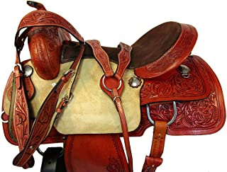 Brown Leather Western Saddle 15 16 17 Trail Pleasure Horse Show Tooled TACK Set