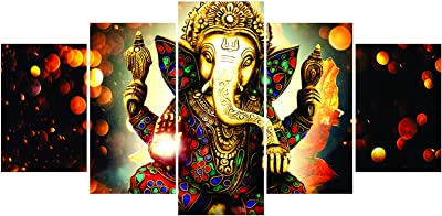 Paper Plane Design 'Ganesha' Painting (100 cm x 4 cm x 200 cm, Set of 5)
