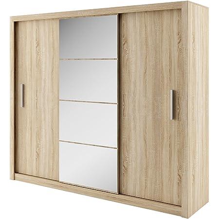 Idea Modern Sliding Door Wardrobe With Mirror Sliding Door 250 X 215 X 60 Cm Elegant Bedroom Cabinet Bedroom Amazon De Home Kitchen