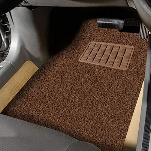 Autofurnish Anti Skid Curly Car Foot Mats (Tan Black) Universal