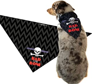 Stonehouse Collection Bad to The Bone - Skull and Cross Bones - Medium to Large Dogs - Dog Scarf Accessory - Great Dog Gift Idea