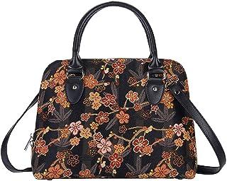 Signare Tapestry Handbag Satchel Bag Shoulder bag and Crossbody Bag and Purse for women with Ume Sakura Japanese Style
