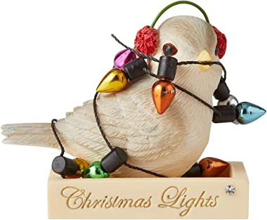 Enesco Heart of Christmas Tangled in Lights Bird Figurine, 1.77 Inch, Multicolor