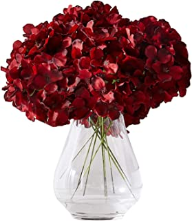 Kislohum Hydrangea Silk Flowers Heads with 10 Stems Burgundy Artificial Hydrangea Flower Head for Wedding Centerpieces Bou...
