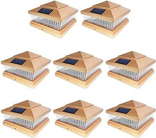 IGlow 8 Pack Copper Outdoor Garden 6 x 6 Solar SMD LED Post Deck Cap Square Fence Light Landscape PVC Vinyl Wood Bronze