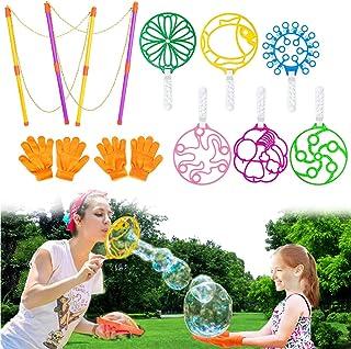 MIMIDOU 10 Pcs Colorful Big Bubble Set Toy for Kids, 2 Giant Bubble Wands, 6 Big Bubble Tool, 2 Pairs of Bubble Gloves, Th...
