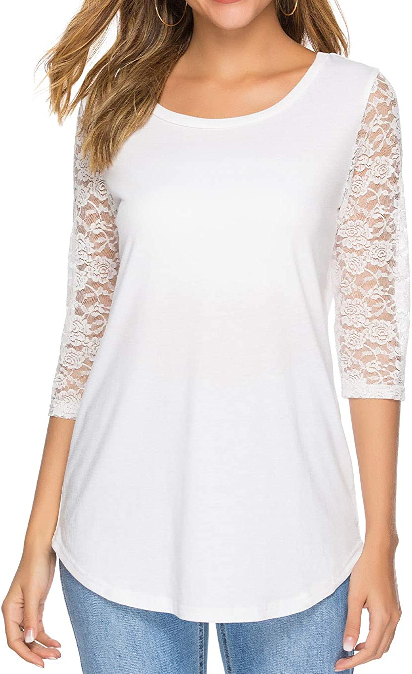 koitmy Women's 3 4 Factory outlet Lace Easy-to-use Sleeve Neck T-Shirt Blouses Casual Round