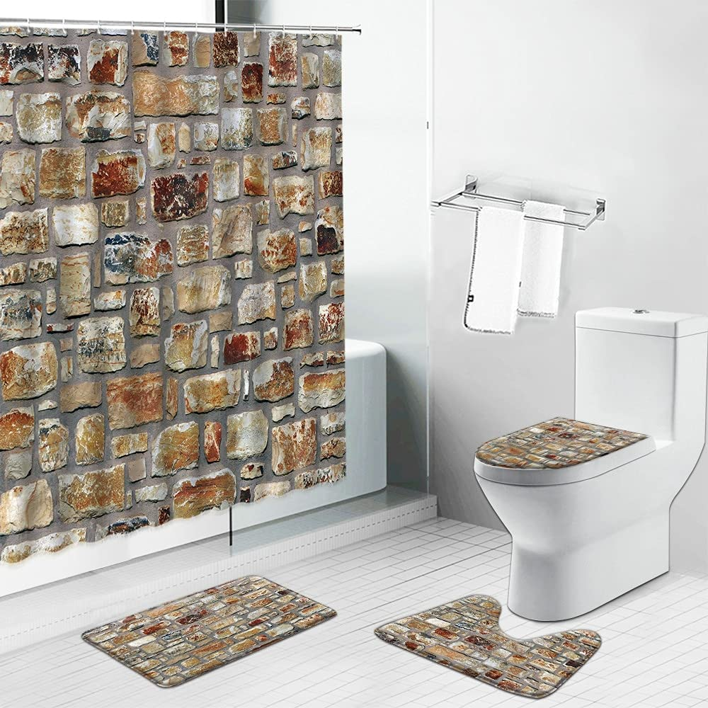 Red Brick New product Genuine Free Shipping type Wall Pattern Shower Mat Curtains Non-Slip Bath Vintage