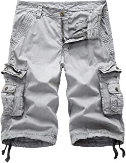 AGAING Men's Multi-Pocket Summer Outdoors Loose Fit Casual Cargo Work Shorts