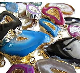 GemsDiamondsbySHIKHA 25 Pieces Geode Slice Connectors,Wholesale Lot,Electroplated Druzy,Stalactite Slice,Silver/Gold Connector