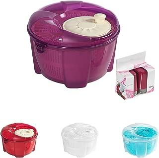 Mabel Home Salad Spinner, Salad Tosser and Mixer, 5,5 Quart, Vegetable Spinner -EXTRA Salt&Pepper Shaker inc. (Purple)