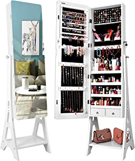 TomCare Jewelry Organizer Jewelry Cabinet Free Standing Jewelry Armoire Lockable Tilt Angle Adjustable Jewelry Box with Full Length Mirror & 2 Drawers Earring Organizer Jewelry Storage Holder, White