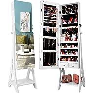 TomCare Jewelry Organizer Jewelry Cabinet Free Standing Jewelry Armoire Lockable Tilt Angle...