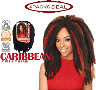 EVE HAIR African Nature Braid - 100% Kanekalon Synthetic Carribean Twist Braid for Double Strand Style Braiding Hair - 12 Inches - Color: 1B (Pack of 4)