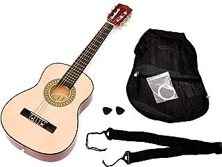 ts-ideen - Guitarra acústica infantil (tamaño 1/4, para 4-7 años, incluye funda, correa y cuerdas), color marrón