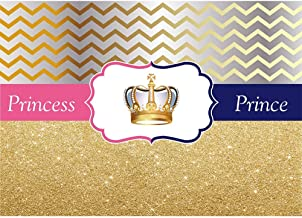 Allenjoy 7x5ft Royal Blue or Pink Gender Reveal Party Photography Backdrop Gold Chevron Boy or Girl Prince or Princess Baby Shower Event Decor Background Gender Surprise Newborn Portrait Photobooth