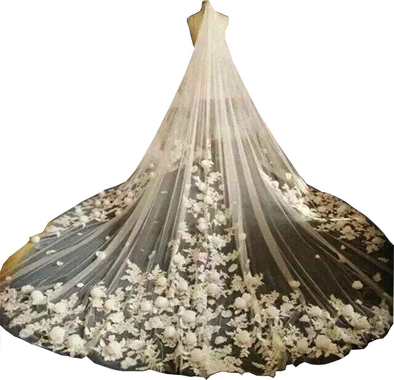 EllieHouse Women's Flower Lace Wedding Bridal Veil With Comb S52