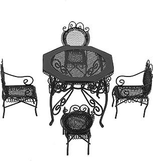 Doll House Garden Furniture, 5pcs Fairy Garden Miniature Mini Dollhouse Table Chair Set Furniture Accessory for 1:12 Dollh...