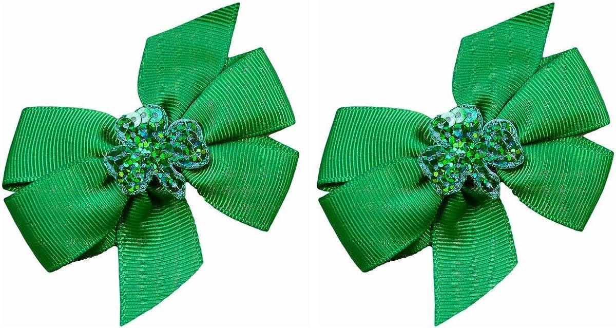 Nylon Baby Headband Lucky Clover Bow St Patrick/'s Day Shamrock Bow Hand Tied Bow On Headband Fabric Bow Reversible Hair Bow