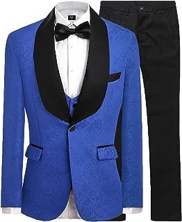 Mens Jacquard 3 Piece Suit Slim Fit Tuxedo Blazer Jacket Tux Vest & Trousers