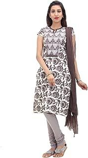 Cream Cotton Embroidered Salwar Suit