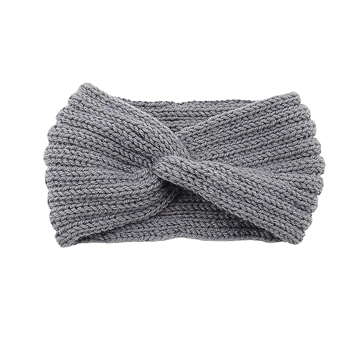 Thatso Winter Headbands for Women, Ear Warmer Headband with Buttons, Soft Stretchy Thick Cable Knitted Turban Hairband Gift (Gray,One Size)