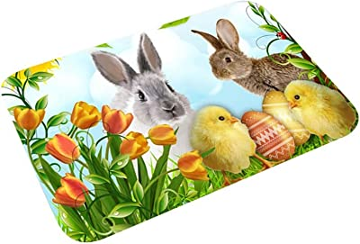 Vanproo Easter Welcome Doormat 24x16in Easter Bunny Spring Gift, Floor Mat Indoor Outdoor Entrance, Home Front Porch Rugs for Easter Greetings Party Home Decoration Keeps Floors Clean