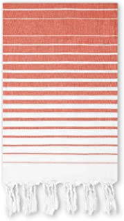 Beach Towel Orange Gradient Stripes on White - Cotton, Thin, Large. Pool Towel, Compact Travel Towel. Light, Soft, Absorbent - Durable Dense Woven Sidelines - Prewashed, 36 X 67 Inches.
