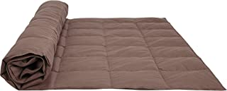 puredown® All Season Goose Down Sport Blanket with DownProof Peach Skin Fabric Packable Throw Chocolate 50