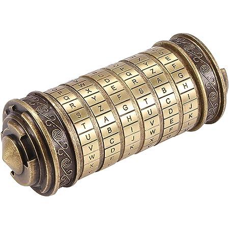 Phonleya Bloqueo de código Da Vinci Cryptex - Cerradura de amante de aleación de zinc retro romántica creativa Caja de regalo conmemorativa para el cumpleaños de Navidad del día de San Valentín