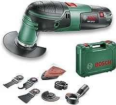 Bosch Multiherramienta PMF 220 CE Set,3 hojas de sierra, placa lijadora, set de hojas de lija, rascadora flexible, cuchilla, tope de profundidad, sistema de aspiración, maletín (220W)