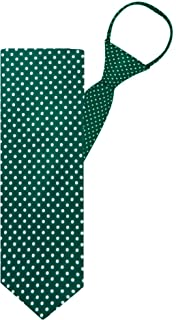 "Jacob Alexander Polka Dot Print Boys 14"" Polka Dotted Zipper Tie - Forest Green"
